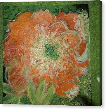Orange Floral Fantasy Canvas Print by Anne-Elizabeth Whiteway