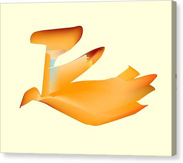 Canvas Print featuring the digital art Orange Jetpack Penguin by Kevin McLaughlin
