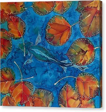 Orange Leaves And Fish Canvas Print by Carolyn Doe