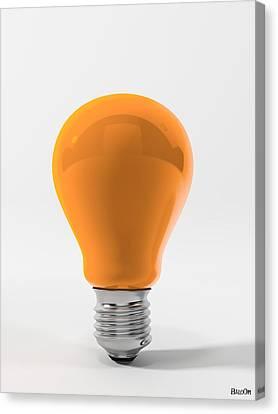 Orange Ligth Bulb Canvas Print by BaloOm Studios