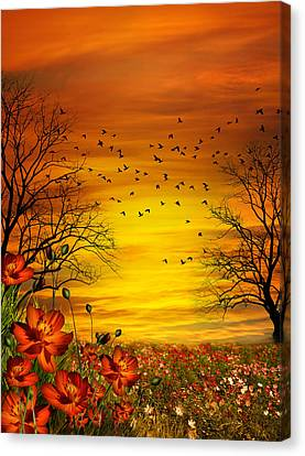 Orange Meadow Montage Canvas Print by Julie L Hoddinott