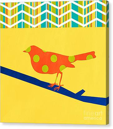 Orange Polka Dot Bird Canvas Print by Linda Woods