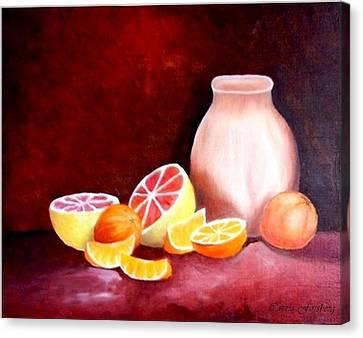 Orange Still Life Canvas Print by Carola Ann-Margret Forsberg