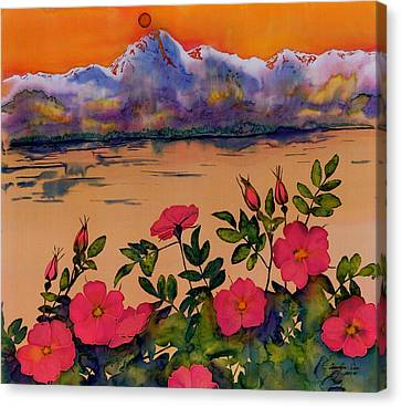 Orange Sun Over Wild Roses Canvas Print by Carolyn Doe