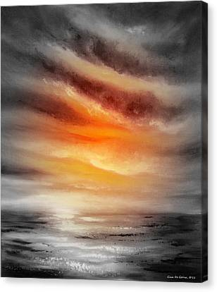 Seascapes Canvas Print - Orange Sunset by Gina De Gorna