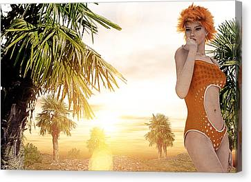 Orange Sunset Canvas Print by Maynard Ellis