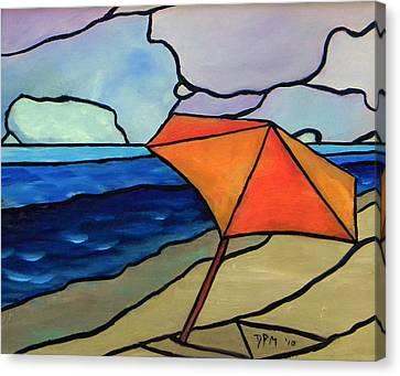 Orange Umbrella At The Beach Canvas Print by David McGhee