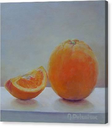Orange Un Quart Canvas Print by Muriel Dolemieux