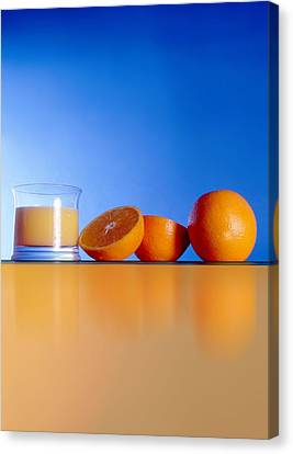 Oranges And Orange Juice Canvas Print by Victor Habbick Visions