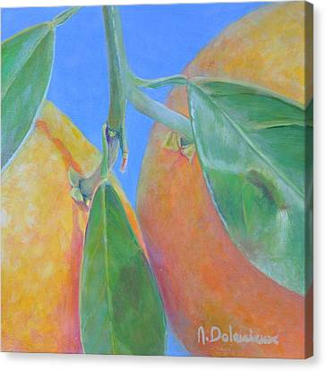Oranges Ecartelees Canvas Print by Muriel Dolemieux