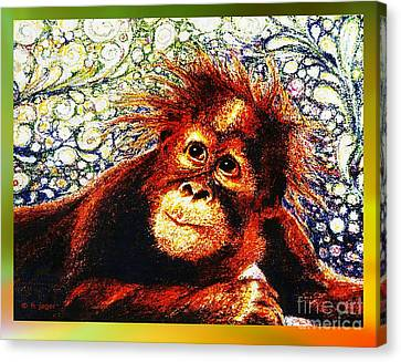 Canvas Print featuring the drawing Orangutan Baby by Hartmut Jager
