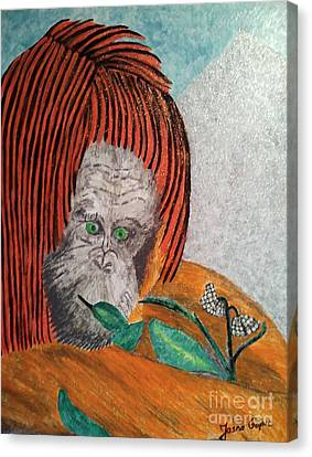 Canvas Print featuring the painting Orangutan by Jasna Gopic