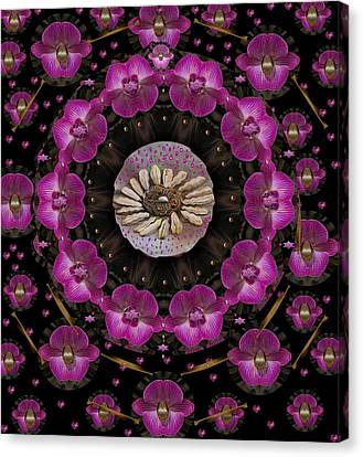 Orchids And Fantasy Flowers Canvas Print by Pepita Selles