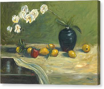 Canvas Print featuring the painting Orchids And Vase by Marlyn Boyd