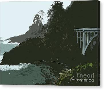 Canvas Print featuring the photograph Oregon Coast Ben Jones Bridge by Glenna McRae