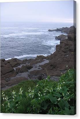 Canvas Print featuring the photograph Oregon Coast Near Depoe Bay by Karen Molenaar Terrell