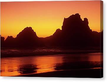Oregon Coast Rocks Sunset Canvas Print
