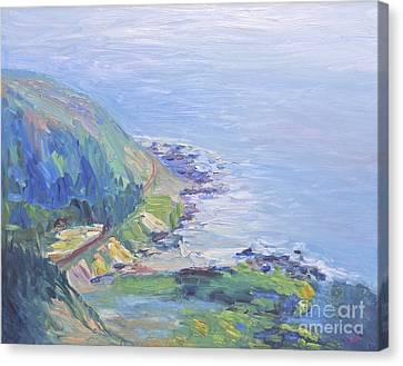 Canvas Print featuring the painting Oregon Coastline by Barbara Anna Knauf