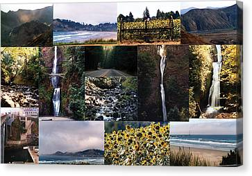 Canvas Print featuring the photograph Oregon Collage From Sept 11 Pics by Maureen E Ritter