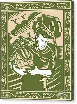 Organic Farmer With Basket Harvest Crops Retro Canvas Print by Aloysius Patrimonio