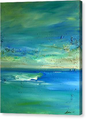 Canvas Print featuring the painting Organic Seascape by Dolores  Deal