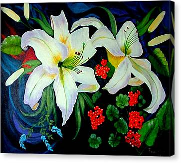 Canvas Print featuring the painting Oriental Lily by Fram Cama