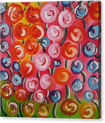 Original Modern Impasto Flowers Painting  Canvas Print