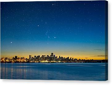 Orion Over Vancouver, Canada Canvas Print by David Nunuk