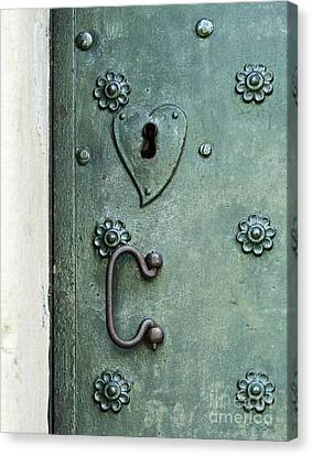 Canvas Print featuring the photograph Ornamental Metal Doors In Teal by Agnieszka Kubica