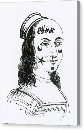Ornamental Patches On Face, 17th Century Canvas Print by Photo Researchers