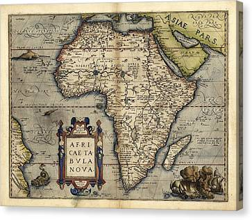 Ortelius's Map Of Africa, 1570 Canvas Print by Library Of Congress, Geography And Map Division