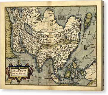 Ortelius's Map Of Asia, 1570 Canvas Print by Library Of Congress, Geography And Map Division