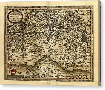 Ortelius's Map Of Austria, 1570 Canvas Print by Library Of Congress, Geography And Map Division