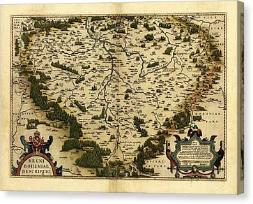 Ortelius's Map Of Bohemia, 1570 Canvas Print by Library Of Congress, Geography And Map Division