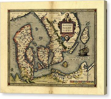 Ortelius's Map Of Denmark, 1570 Canvas Print by Library Of Congress, Geography And Map Division