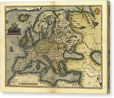 Ortelius's Map Of Europe, 1570 Canvas Print by Library Of Congress, Geography And Map Division