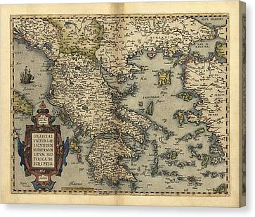 Ortelius's Map Of Greece, 1570 Canvas Print by Library Of Congress, Geography And Map Division