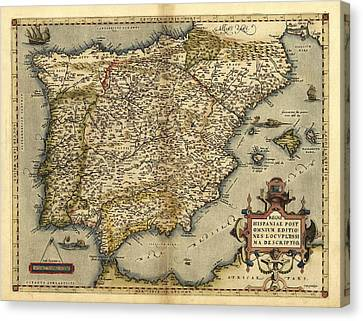 Ortelius's Map Of Iberian Peninsula, 1570 Canvas Print by Library Of Congress, Geography And Map Division
