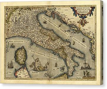 Ortelius's Map Of Italy, 1570 Canvas Print by Library Of Congress, Geography And Map Division