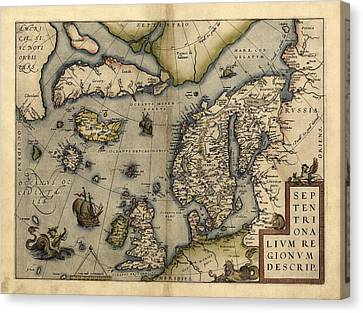 Ortelius's Map Of Northern Europe, 1570 Canvas Print by Library Of Congress, Geography And Map Division