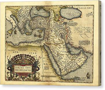 Ortelius's Map Of Ottoman Empire, 1570 Canvas Print by Library Of Congress, Geography And Map Division
