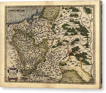 Ortelius's Map Of Poland, 1570 Canvas Print by Library Of Congress, Geography And Map Division