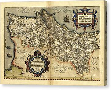 Ortelius's Map Of Portugal, 1570 Canvas Print by Library Of Congress, Geography And Map Division