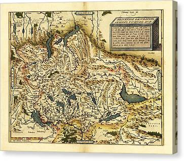 Ortelius's Map Of Switzerland, 1570 Canvas Print by Library Of Congress, Geography And Map Division