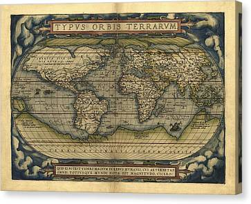 Ortelius's World Map, 1570 Canvas Print by Library Of Congress, Geography And Map Division