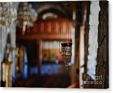 Orthodox Church Oil Candle Canvas Print by Stelios Kleanthous