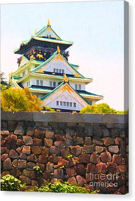 Osaka Castle - Painterly - 40d17138 Canvas Print by Wingsdomain Art and Photography