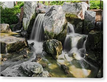 Osaka Garden Waterfall Canvas Print by Jonah  Anderson