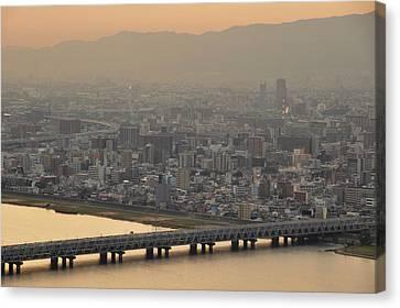 Osaka S0kyline Dawn Canvas Print by M.Appert
