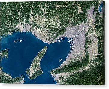 Osaka, Satellite Image Canvas Print by Planetobserver
